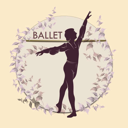 Ballet. Silhouette of feet of dancing people. Vector Illustration