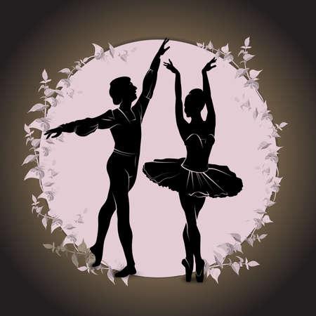 Ballet, dancing silhouette on vintage background. Silhouette of feet of dancing people vector illustration. Stock fotó - 95749899