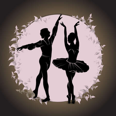 Ballet, dancing silhouette on vintage background. Silhouette of feet of dancing people vector illustration.
