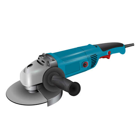 Angle grinder on white background. Simple illustration of angle grinder. Tools and accessories vector illustration.