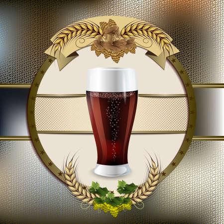 Beer glass in the form of an emblem. Oktoberfest. Beer festival celebration. Mug with dark beer on a dark  background and malt branch