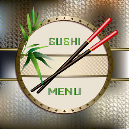 Sushi menu with green bamboo, Chopsticks brown and red. Asian Cuisine Restaurant, kitchen accessories. Vector Illustration