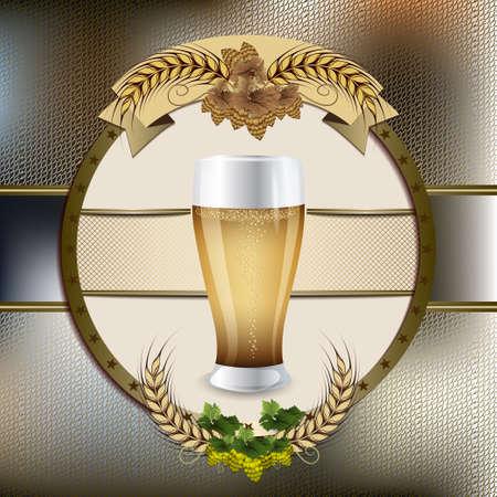 Beer glass in the form of an emblem. Oktoberfest. Beer festival celebration. Mug with light beer on a dark background and malt branch