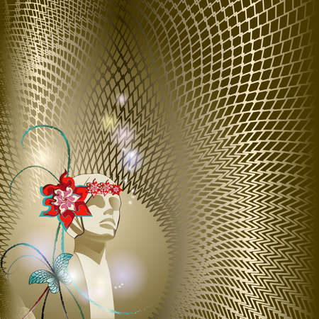 Mannequin head on a gold background with abstract waveform lines. Flower, butterfly. Space for text can be used for invitations, poster or greeting cards.  Vector illustration Stock Illustratie