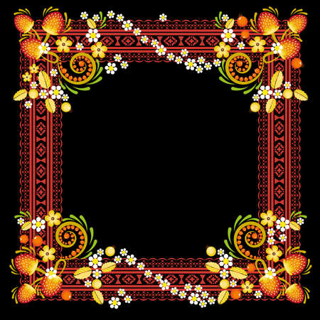 Folk style textile embroidery with flowers and place for text. Folk embroidery. Abstract flowers. Ethnic pattern on on a dark background