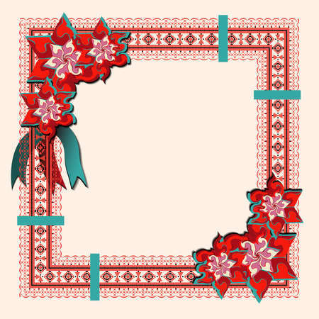 Folk style textile embroidery with flowers and place for text. Folk embroidery. Abstract flowers. Ethnic pattern on a light background Illusztráció