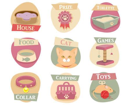 toilette: Cat life flat icons