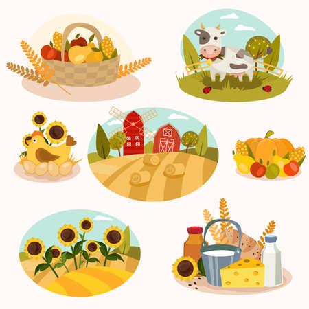 cows red barn: Eco farm flat icons