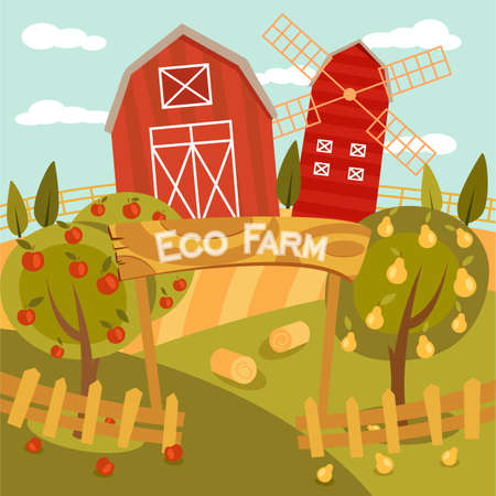 corn field: Eco Farm flat illustration