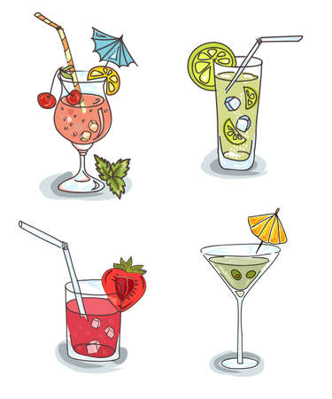 Different cocktails with fruit Vector