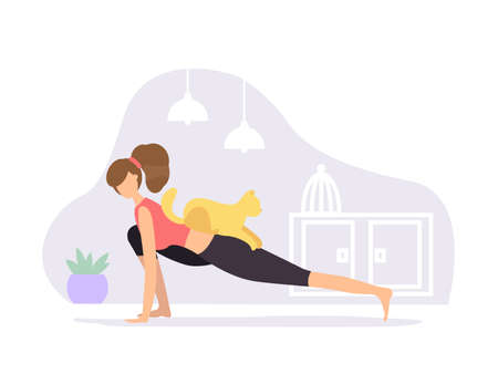 Woman in red t-shirt and black pants practices yoga at home with a cat in a high lunge. Flat style character vector illustration on purple background.