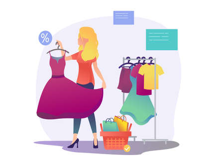 Women s shopping. She is a beautiful blonde girl. The girl is trying on a new dress in the store. Vector illustration in a flat style Illustration