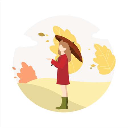 Girl walks in the park in autumn. Ilustração
