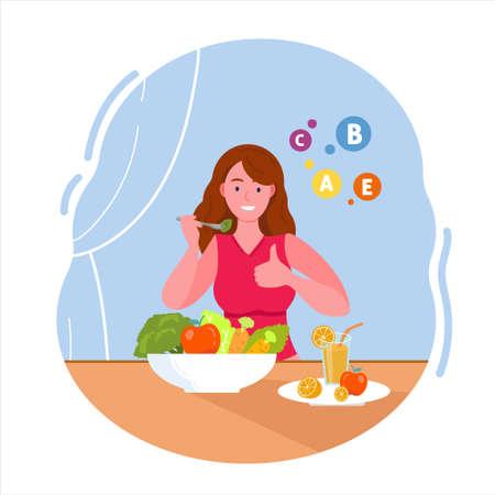 The woman who eats vitamin salad