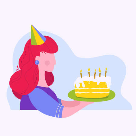 Girl holding a Birthday cake Illustration