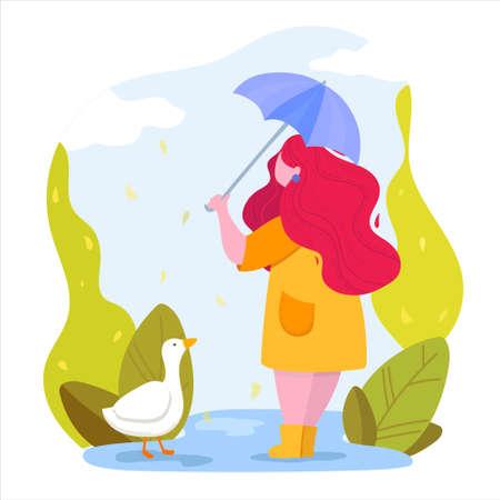 Autumn season. Woman with umbrella in a park.