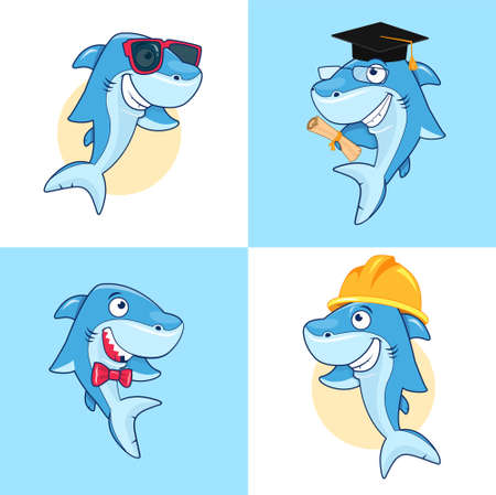 Cute cartoon shark in different poses. Vector clip art illustration with simple gradients. Each on a separate layer. Ilustração