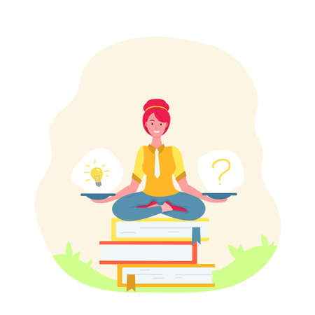 Girl sitting in lotus pose.