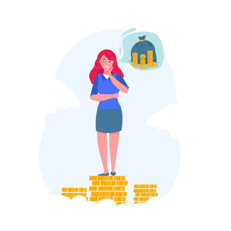 Business woman stands on coins