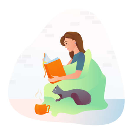 A girl drinks tea and reads a book while sitting on pillows with a cat. Vector illustration. Ilustração