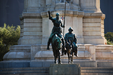 Detail of Cervantes monument represent Don Quixote and Sancho Panza, squire of Don Quixote in Madrid, Spain Foto de archivo