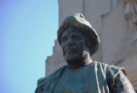 Detail of Cervantes monument represent Sancho Panza, squire of Don Quixote in Madrid, Spain Stock Photo