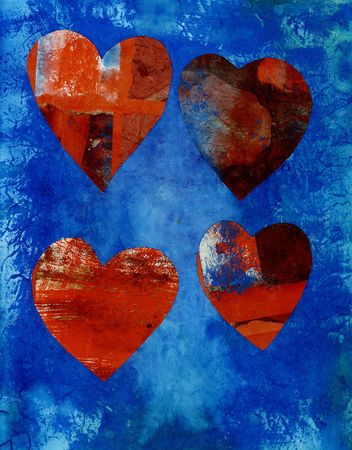 Four collaged mix media hearts on a blue painted background with space for text below.
