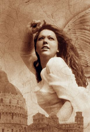 Photo based mixed medium image of a powerful female angel striking against energies. the city she is protecting is Pisa, Italy.