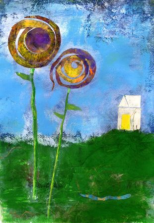 contentment: Happy Home on the hill with big flowers and a little blue worm going by. Stock Photo