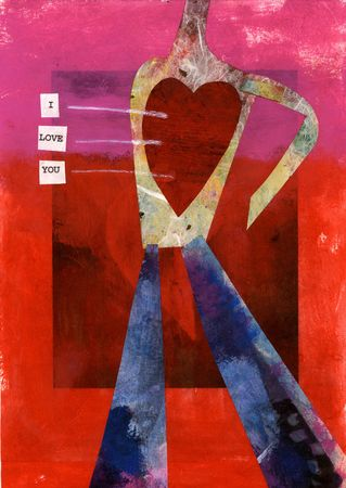 Human figure collage with big red heart and the words
