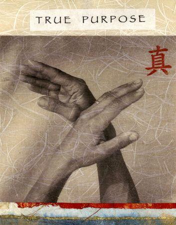 """proposito: Upraised manos en suave movimiento. El rojo significa car�cter """"TRUE"""".  Foto de archivo"""