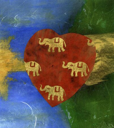 Mix media collage of elephants in a red heart. Фото со стока