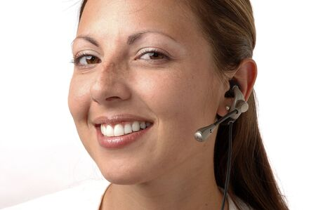 Confident Young woman Listening On  A headset Stock Photo - 203953