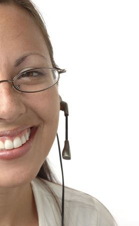 Young woman wearing a headset isolated on white with extreme cropped composition.