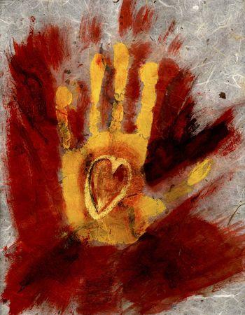 黄色の手絵画を印刷します。愛、情熱、注意 ! 写真素材 - 204012
