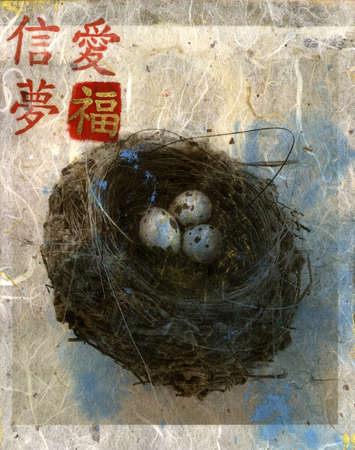 Mix Media nest with 3 eggs and the Chinese characters Stock Photo