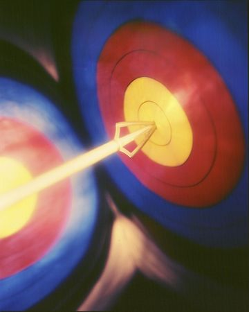 Reflected target with arrow hitting bulls eye.