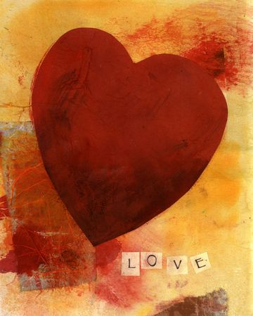 textural: Mixed Medium collage of a red heart and the word LOVE spelled out.