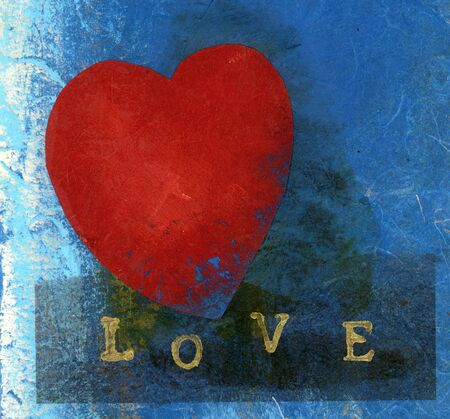 Mixed Medium collage of a red heart and the word LOVE spelled out.
