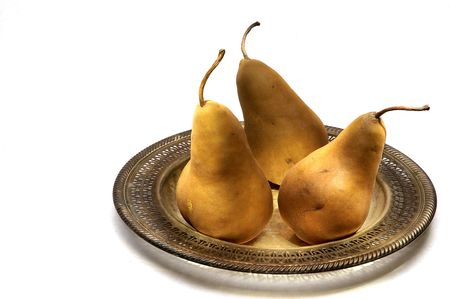 cater: Pears On a Silver Platter photographed on white.