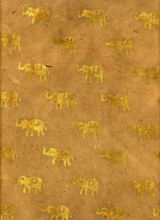 Block Printed Indian Handmade paper with elephants. Stock Photo