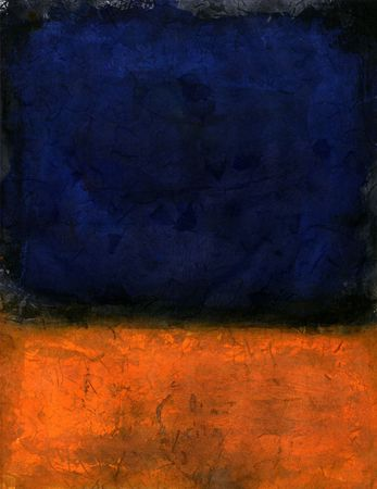 Painted background deep blue and orange.