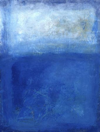 Blue abstract painting with white tones. Textural.