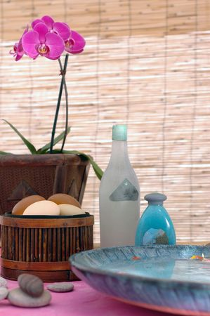 Spa treatment items in a natural setting. The bottles have arty generic lables I created.