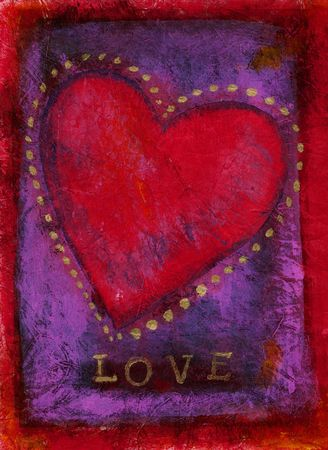 textural: Heart Mixed Medium Painting with the word LOVE