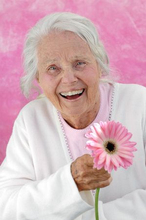 eighties: Laughing great grandmother with a pink Gerbera flower. Photographed on a pink background. Woman in her eighties.