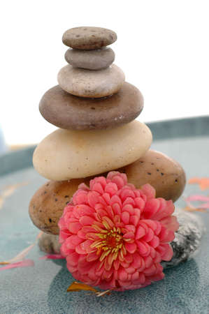 Flower and stacked stones in water