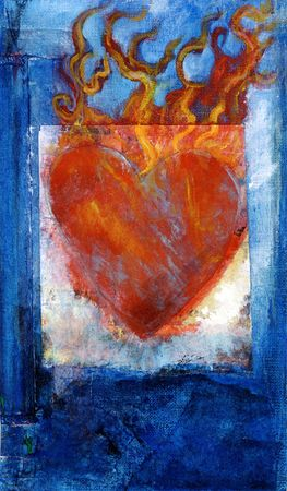 textural: Heart mixed medium painting with flames.