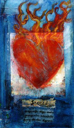 Sacred Heart mixed medium painting with Sanskrit prayer. Stock Photo