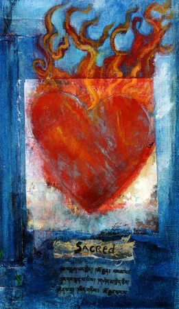 tibetan: Sacred Heart mixed medium painting with Sanskrit prayer. Stock Photo